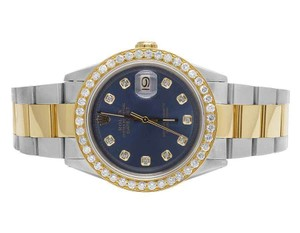 Rolex Datejust Two Tone 18K/Steel 36MM Oyster Blue Dial Diamond Watch 3.5 Ct