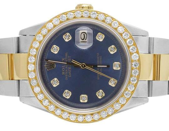Rolex Datejust Two Tone 18K/Steel 36MM Oyster Blue Dial Diamond Watch 3.5 Ct Image 1