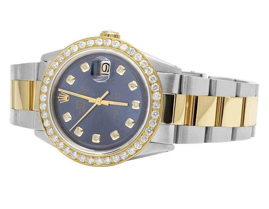 Rolex Datejust Two Tone 18K/Steel 36MM Oyster Blue Dial Diamond Watch 3.5 Ct Image 4