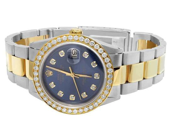 Rolex Datejust Two Tone 18K/Steel 36MM Oyster Blue Dial Diamond Watch 3.5 Ct Image 5