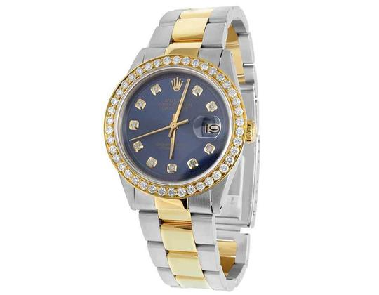Rolex Datejust Two Tone 18K/Steel 36MM Oyster Blue Dial Diamond Watch 3.5 Ct Image 6