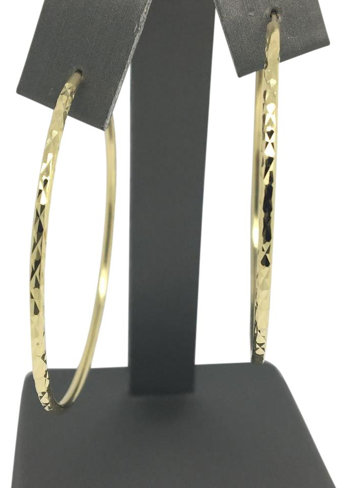 Other 14k Yellow Gold Diamond Cut Hoop Earrings Image 0