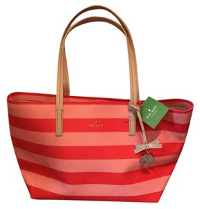 Kate Spade Tote in Peach and coral stripes with tan straps