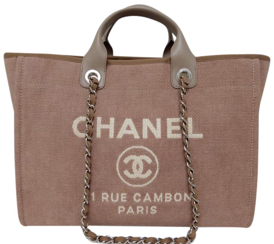6568d48af30c Chanel Deauville Tote Grand Shopper Large 2017 Camel Canvas Shoulder ...