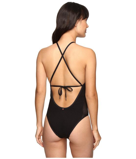 Red Carter Sun Dance Mesh Keyhole Halter High Neck Mio One Piece Swimsuit Image 4