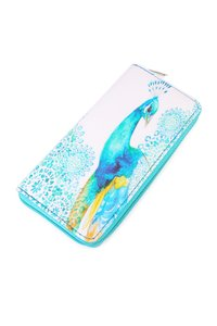 Riah Fashion Peacock One Zipper Print Wallet