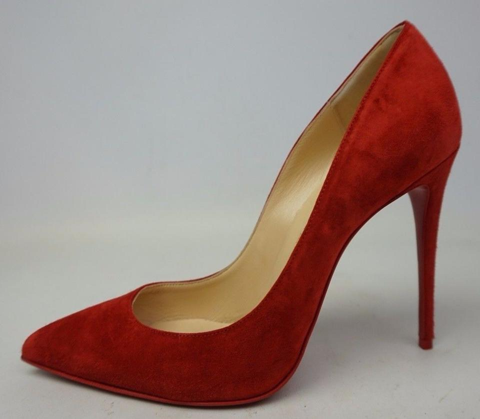 Follies Louboutin Suede Heels Pigalle Pumps 100 Christian Pointy Red qFtTwP