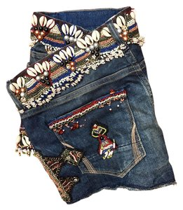 AllSaints Hand Embellished Limited Edition Beaded Indigo Cut Off Shorts Jean/Multicolor