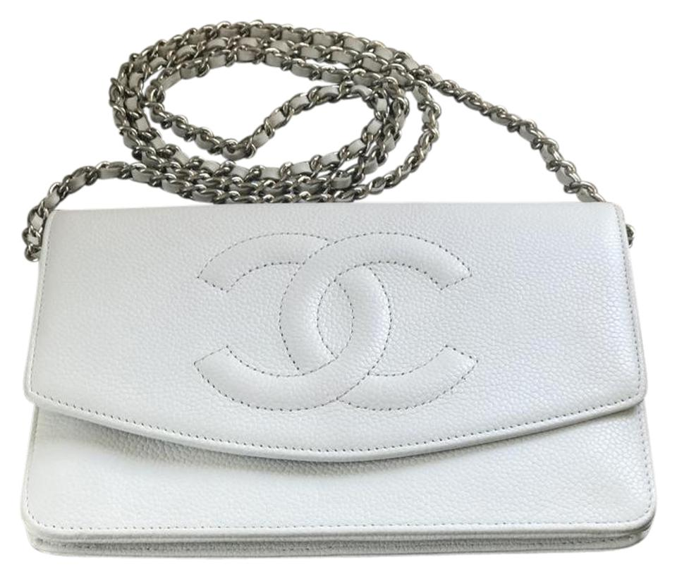 9c868da7bd82ff Chanel White Caviar Leather Woc Wallet On Chain Timeless Gold Hardware  Cross Body Bag