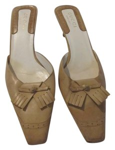 Gucci Leather Imported Beige Mules