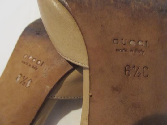 Gucci Leather Imported Beige Mules Image 2