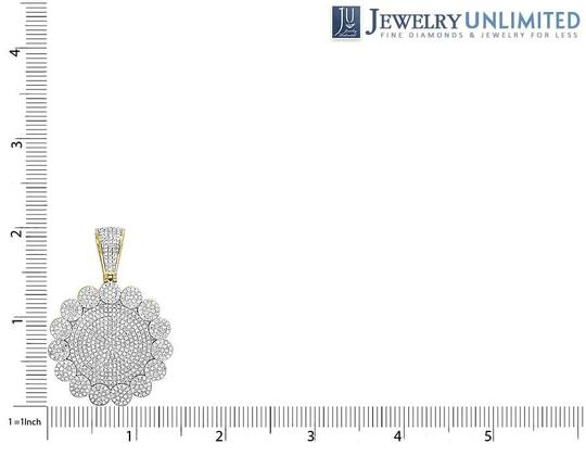 Jewelry Unlimited 10K Yellow Gold Diamond Iced Cluster Medallion Pendant 2.5 Ct 2