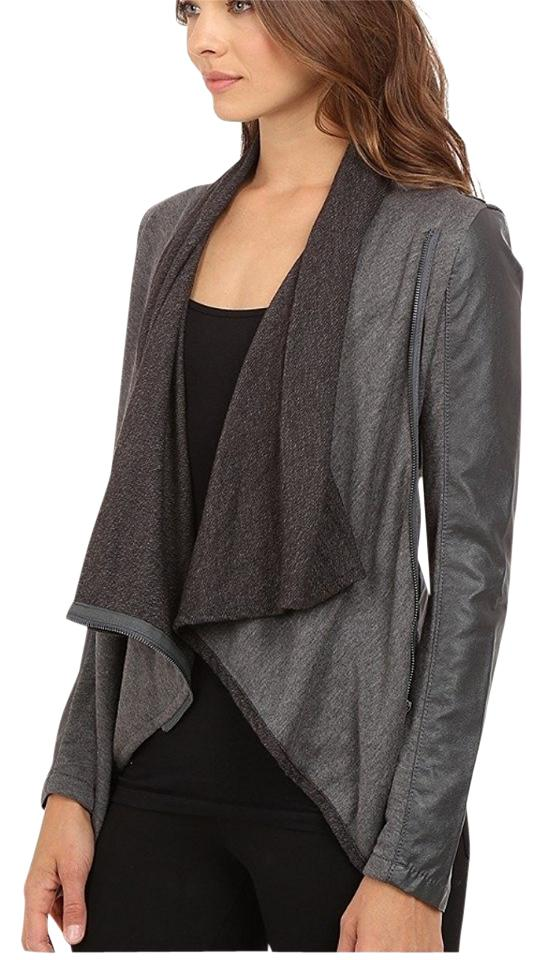 c670de96a BlankNYC Grey 'private Practice' Faux Leather and Knit Drape Front Jacket  Size 2 (XS) 43% off retail