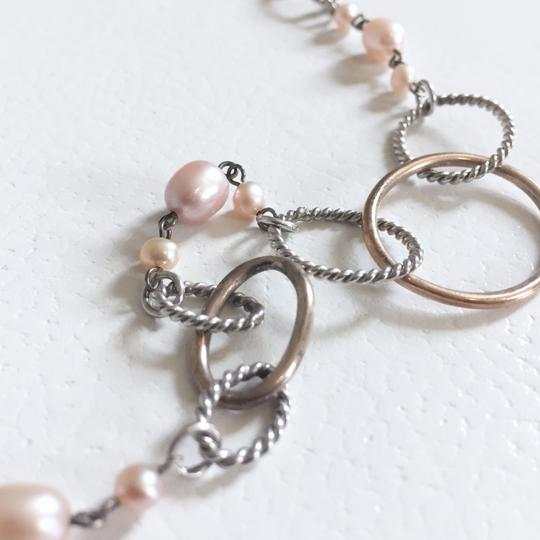 Unbranded genuine pink cream pearl Sterling silver 925 oval necklace Image 1