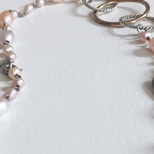 Unbranded genuine pink cream pearl Sterling silver 925 oval necklace Image 4