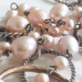 Unbranded genuine pink cream pearl Sterling silver 925 oval necklace Image 5