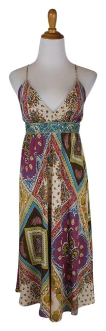 Nicole Miller Mult-color Embellished Floral Silk Spaghetti Strap Halter Mid-length Night Out Dress Size 0 (XS) Nicole Miller Mult-color Embellished Floral Silk Spaghetti Strap Halter Mid-length Night Out Dress Size 0 (XS) Image 1