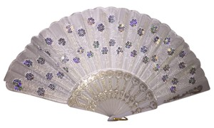 Embroidered Sequin Fan; White [ Roxanne Anjou Closet ]