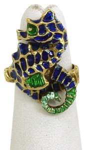 Other Vintage Enamel 3D Dimensional 14k Yellow Gold Seahorse Ring Size 4.5