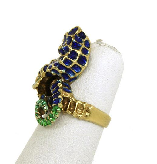 Other Vintage Enamel 3D Dimensional 14k Yellow Gold Seahorse Ring Size 4.5 Image 1