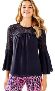 Lilly Pulitzer Zoe Silk Top True Navy