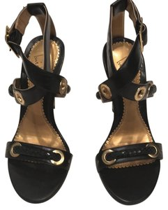 Luichiny Gold Accents Heels New Black Snakeprint Pumps