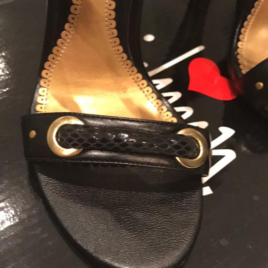 Luichiny Gold Accents Heels New Black Snakeprint Pumps Image 8