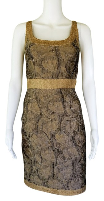Item - Bronze Collection Gold Brocade Short Cocktail Dress Size 4 (S)