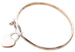 Sears FREE SHIPPING!! STERLING SILVER BANGLE BRACELET Has DANGLE HEART Mark 925 Fits up to 8