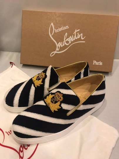 Christian Louboutin Sneaker Boat Striped Mariniere Terry Navy/White Flats Image 2