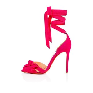 Christian Louboutin Heels Christeriva Ribbon Wrap Around Lace Up Rosa (pink) Pumps