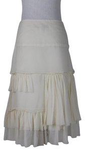 Morgane Le Fay Silk Ruffles Pleats Romantic Bohemian Skirt Cream