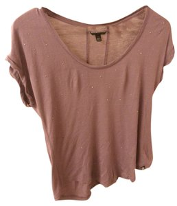Rock & Republic Casual Studded Rhinestone T Shirt Plum