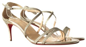 Christian Louboutin Glitter Stiletto Open Toe Leather Ankle Strap Ivory Sandals
