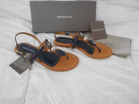 Apepazza Natural Stone Silvertone Studs Striking Design Padded Footbed Comfortable Blue Sandals Image 2