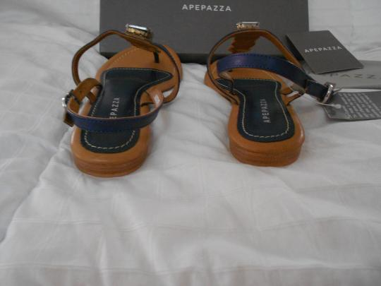 Apepazza Natural Stone Silvertone Studs Striking Design Padded Footbed Comfortable Blue Sandals Image 4