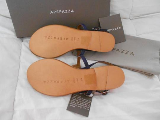 Apepazza Natural Stone Silvertone Studs Striking Design Padded Footbed Comfortable Blue Sandals Image 5