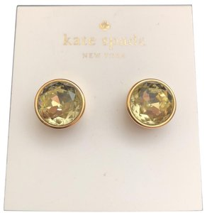 Kate Spade Round Crystal Studs/Yellow Gold Setting