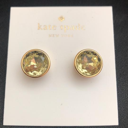 Kate Spade Round Crystal Studs/Yellow Gold Setting Image 3