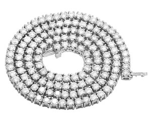 Jewelry Unlimited 10K White Gold Prong Set 1 Row Diamond Tennis Chain Necklace 18 Inches
