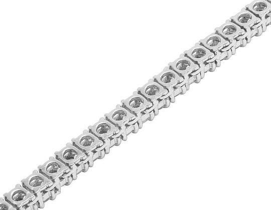 Jewelry Unlimited 10K White Gold Prong Set 1 Row Diamond Tennis Chain Necklace 18 Inches Image 3
