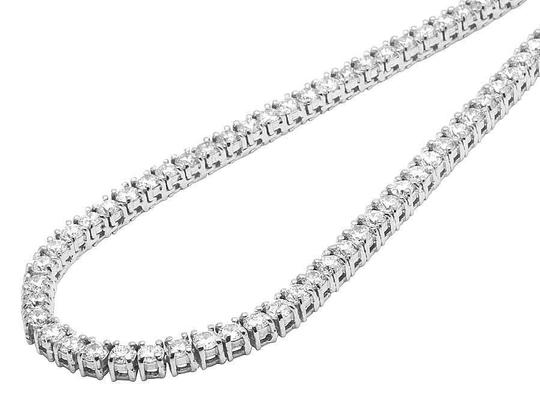 Jewelry Unlimited 10K White Gold Prong Set 1 Row Diamond Tennis Chain Necklace 24 Inches Image 1