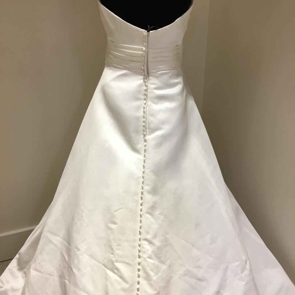 Justin alexander 250 beautiful satin bridal gown with for Wedding dress with buttons all the way down