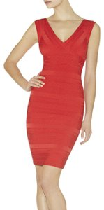 Hervé Leger Gold Hardware Bandage V-neck Strappy Karima Dress