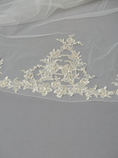 Ivory Long Stunning Cathedral with Embroidered Lace Appliques Bridal Veil Image 2