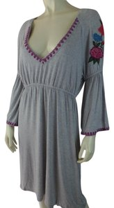 Caite short dress Heather Gray Boho Embroidery Stretch Knit Pullover New on Tradesy