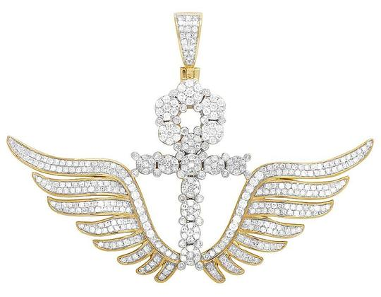 Preload https://img-static.tradesy.com/item/21857215/jewelry-unlimited-10k-yellow-gold-diamond-wing-ankh-cross-pendant-325-ct-21-charm-0-0-540-540.jpg