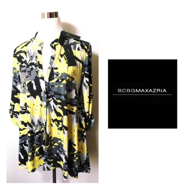 Item - Yellow & Gray Abstract Print Button-down Top Size 6 (S)