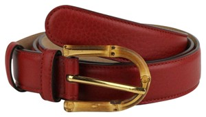 Gucci Rose Red Leather Belt With Bamboo Buckle 80/32 322954 6227