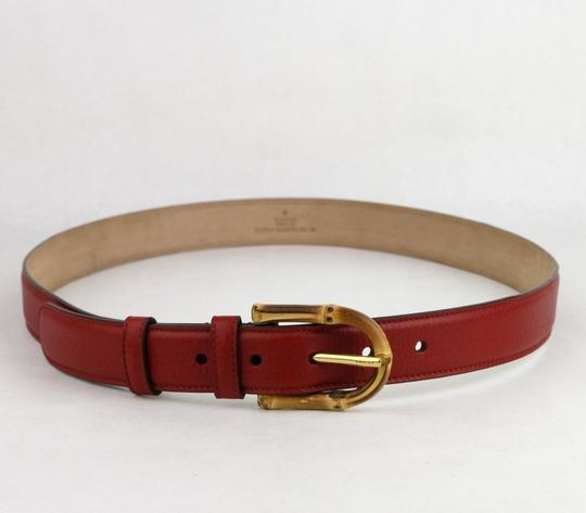 Gucci Rose Red Leather Belt With Bamboo Buckle 80/32 322954 6227 Image 1